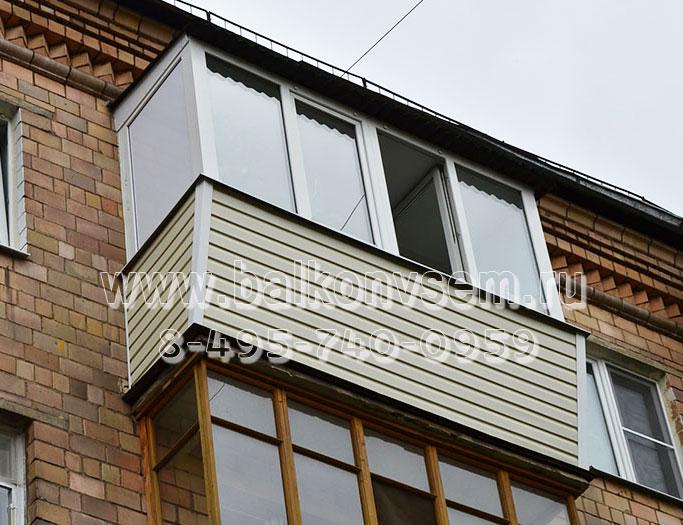 остекление балкона с выносом и крышей